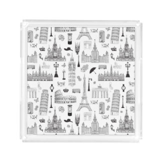 Vacation In Europe Pattern Perfume Tray