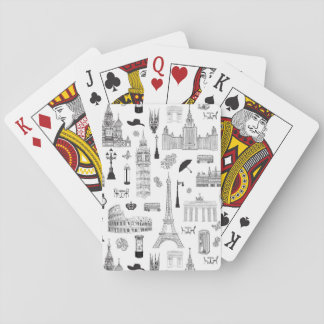 Vacation In Europe Pattern Playing Cards