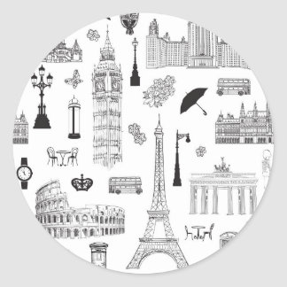 Vacation In Europe Pattern Round Sticker