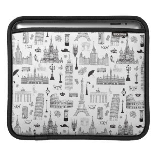 Vacation In Europe Pattern Sleeves For iPads