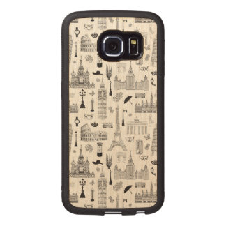 Vacation In Europe Pattern Wood Phone Case