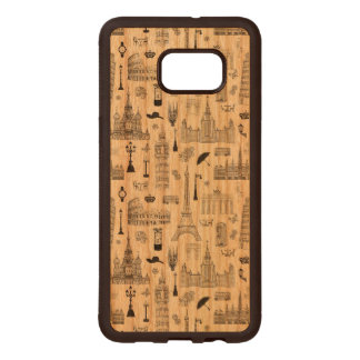 Vacation In Europe Pattern Wood Samsung Galaxy S6 Edge Case