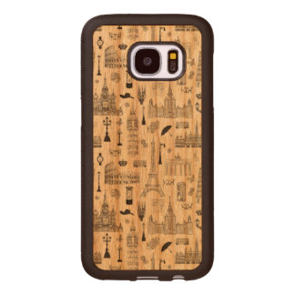 Vacation In Europe Pattern Wood Samsung Galaxy S7 Case