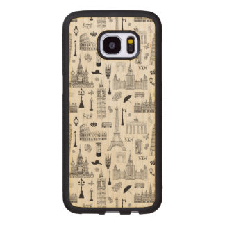Vacation In Europe Pattern Wood Samsung Galaxy S7 Edge Case