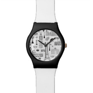Vacation In Europe Pattern Wrist Watches