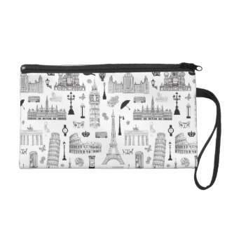Vacation In Europe Pattern Wristlet