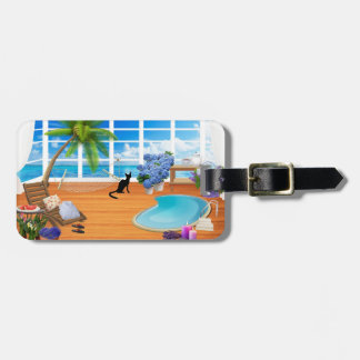 VACATION LUGGAGE TAG, CAT RELAXING AT TROPICAL SPA LUGGAGE TAG