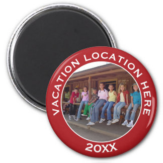 Vacation Photo Souvenir for Family Reunions & More 2 Inch Round Magnet