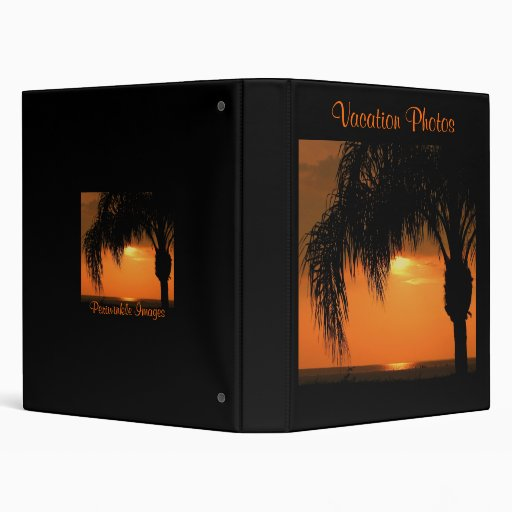 Vacation Photos, tropical beach sunset 3 Ring Binders