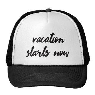 Vacation Starts Now | Trendy Typography Trucker Hat