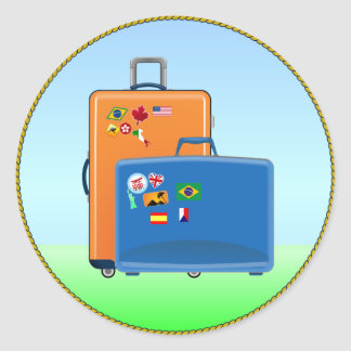 Vacation Suitcases Classic Round Sticker