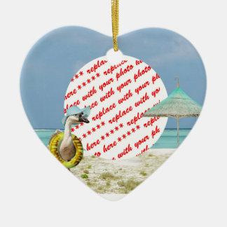 Vacation Time Goose Beach Scene Photo Frame Ceramic Ornament
