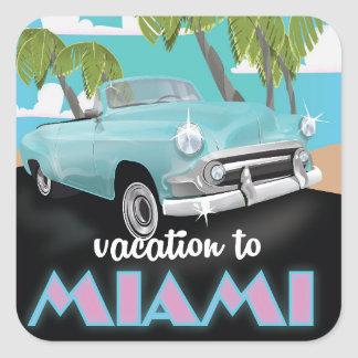 Vacation to Miami Travel poster Square Sticker