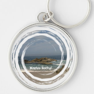 Vacation View; Mexico Souvenir Silver-Colored Round Keychain