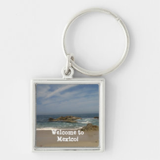 Vacation View; Mexico Souvenir Silver-Colored Square Keychain