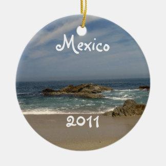 Vacation View; Mexico Souvenir Round Ceramic Ornament