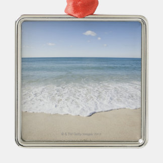 'Vacation' written on sandy beach, Nantucket Silver-Colored Square Ornament