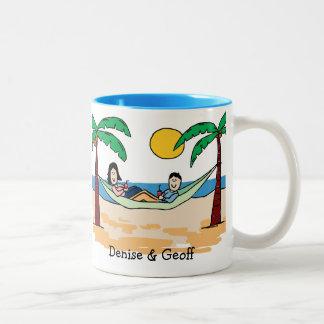 Vacationing couple - custom color Two-Tone coffee mug