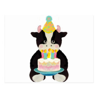 vache à jour d anniversaire carte postale