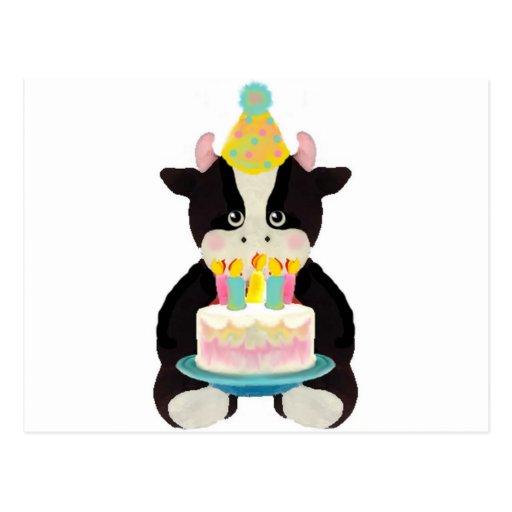 vache à jour d'anniversaire carte postale