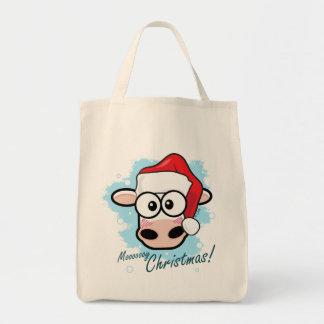 Vache de fête à Noël de Mooooooy Sac En Toile Épicerie