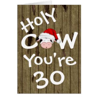 Vache sainte drôle vous êtes anniversaire de Noël Carte