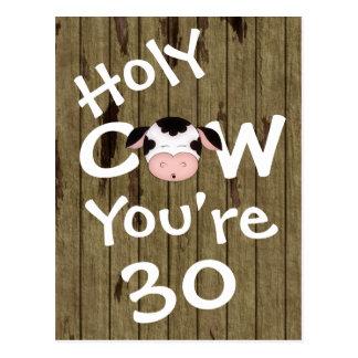 Vache sainte drôle vous êtes carte postale de 30