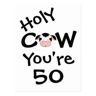 Vache sainte drôle vous êtes carte postale de 50