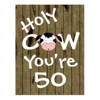 Vache sainte drôle vous êtes carte postale de 50 a