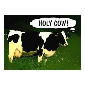 Vache sainte Nouvelle partie de pendaison de cré Invitation Personnalisée