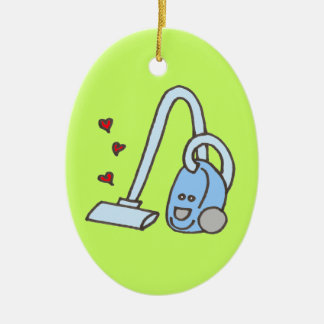 Vacuum Cleaner with Hearts Ceramic Ornament