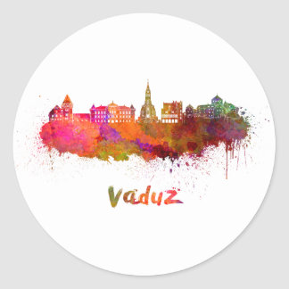 Vaduz skyline in watercolor classic round sticker