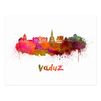 Vaduz skyline in watercolor postcard