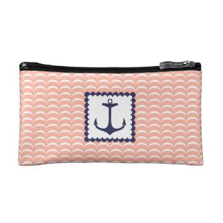 Vagues de corail de rose d'ancre nautique de bleu trousse make-up