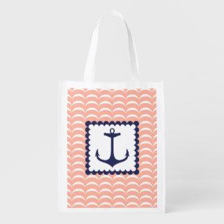 Vagues de corail de rose d'ancre nautique de bleu  sacs d'épicerie