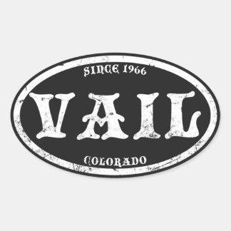 Vail Black Grunge Oval Sticker