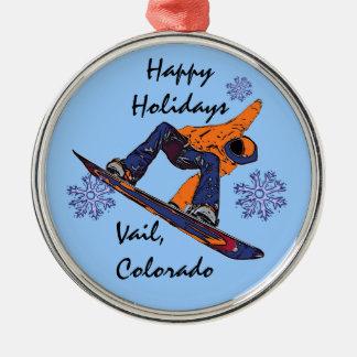 Vail Colorado blue orange snowboarder ornament