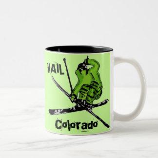 Vail Colorado neon green skier theme mug