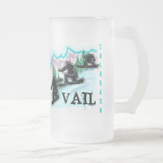 Vail Colorado snowboard frosted beer mug