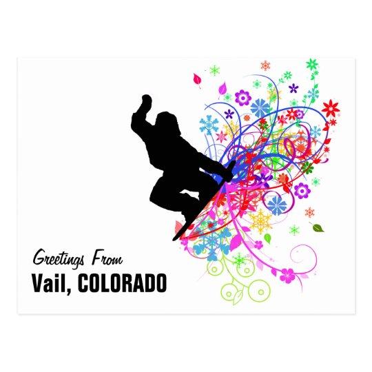 Vail,Colorado Snowboard postcard