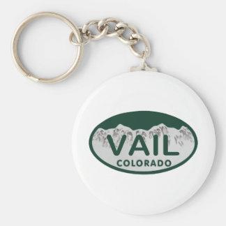 Vail license oval basic round button keychain