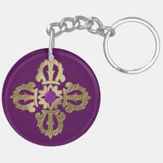 Vajra golden buddhist symbol keychain
