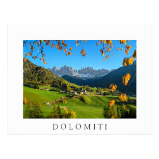 Val di Funes valley with autumn leaves white card