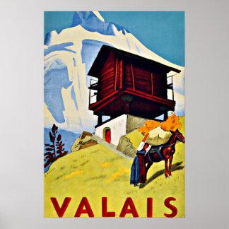 Valais,Switzerland Vintage Travel Poster