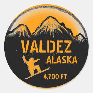 Valdez Alaska orange snowboard art stickers