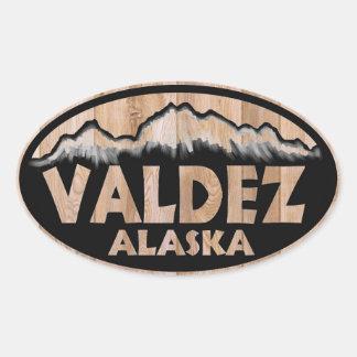 Valdez Alaska wooden sign oval stickers