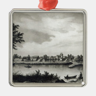 Valdivia, from 'The History of Chile'engraved Silver-Colored Square Ornament