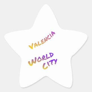 Valencia world city, colorful text art star sticker