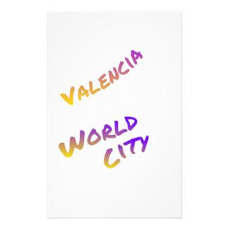 Valencia world city, colorful text art stationery