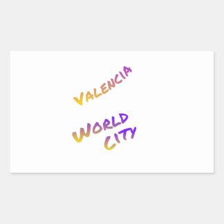 Valencia world city, colorful text art sticker
